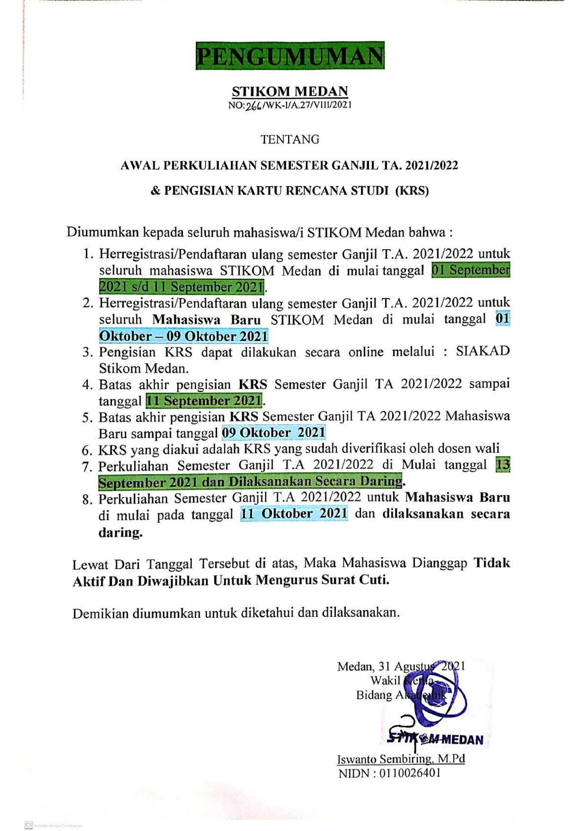 PENGUMUMAN AWAL MASUK PERKULIAHAN GANJIL TA. 2021/2022