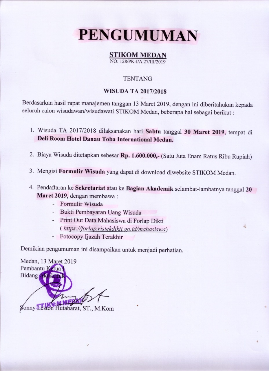 Pengumuman Wisuda 2017/2018