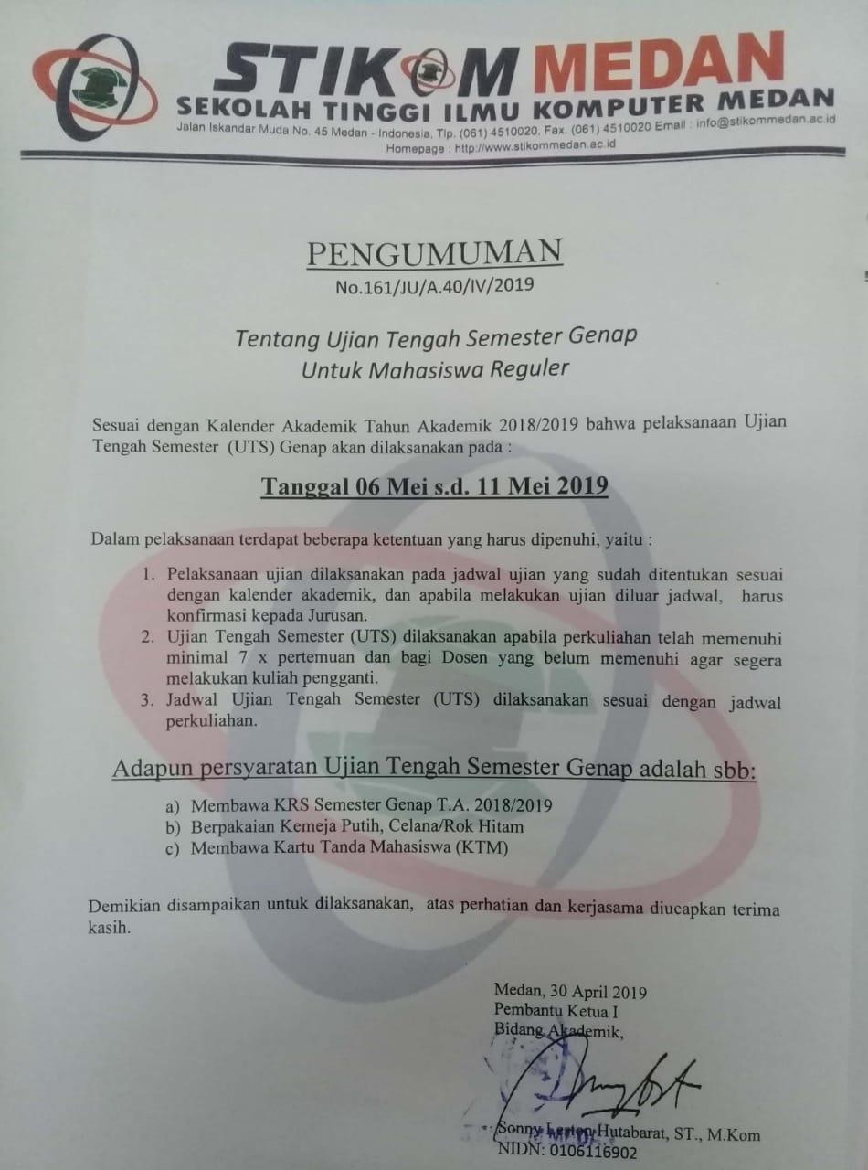 Pengumuman UTS Semester Genap T.A 2018/2019