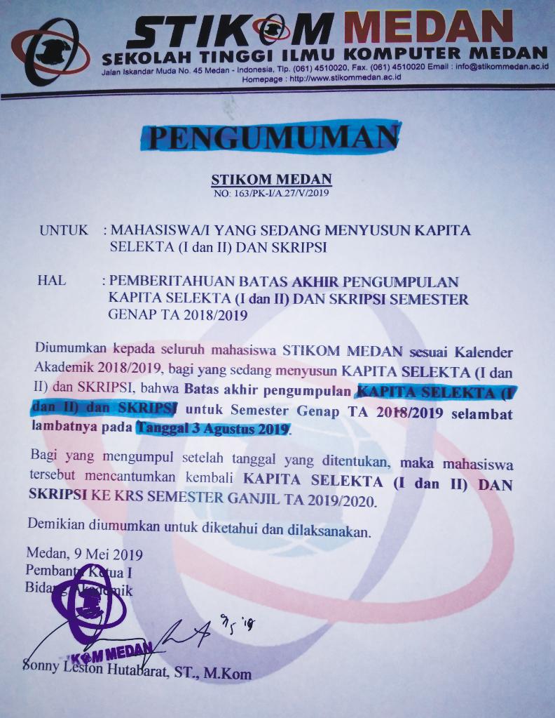 Pengumuman Batas Akhir KAPITA I, II dan Skripsi Semester Genap T.A 2018/2019