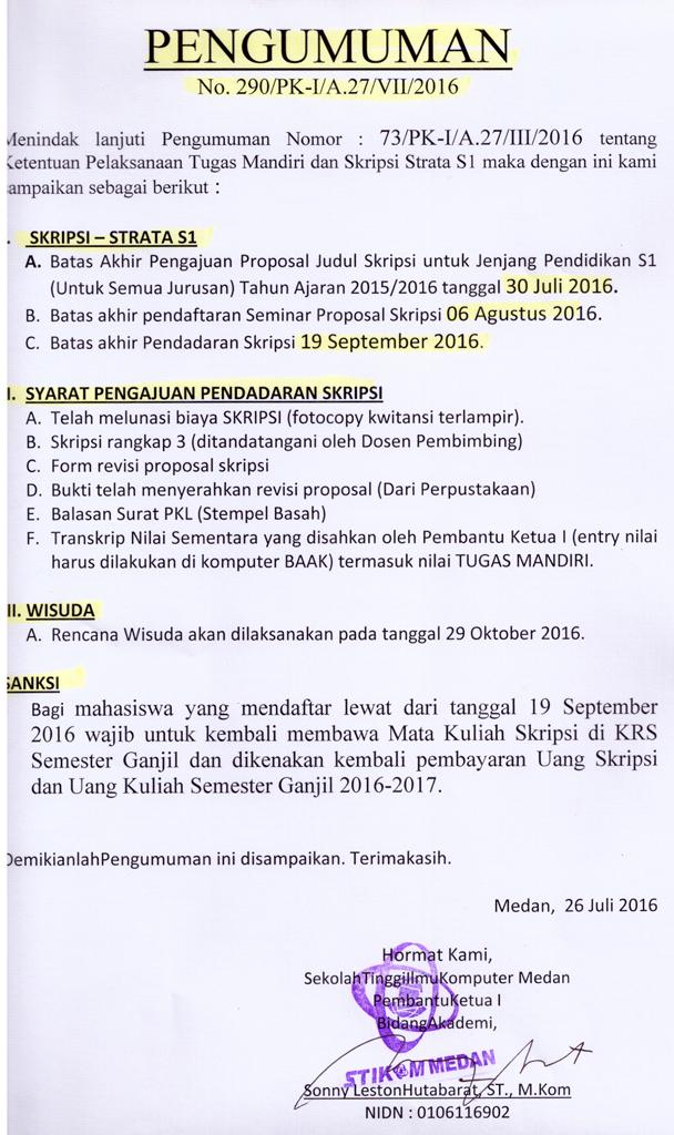 PENGUMUMAN BATAS AKHIR SKRIPSI T.A 2015/2016